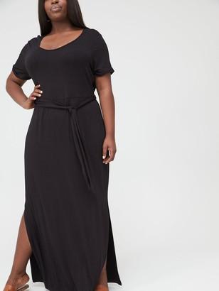 V By Very Curve Maxi T-Shirt Dress - Black
