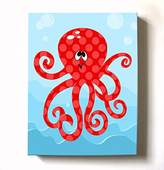 MuralMax Under The Sea Ocean Theme - Stretched Canvas Nursery Wall Art Decor - Adorable Octopus Design That Makes a Memorable Baby Gift Idea - High Quality 100% Wooden Frame Construction - Ready To Hang 24X30
