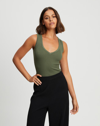 Reux - Women's Green Singlets - Hayden Knit Top - Size One Size, 8 at The Iconic