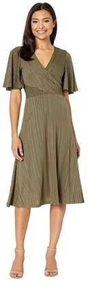 Calvin Klein Flutter Sleeve Midi Dress with Embellishments (Caper/Gold) Women's Dress