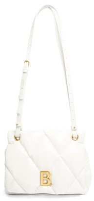 Balenciaga Touch Medium B-plaque Quilted-leather Shoulder Bag - White