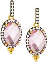 Freida Rothman Oval Pink CZ Crystal Drop Earrings