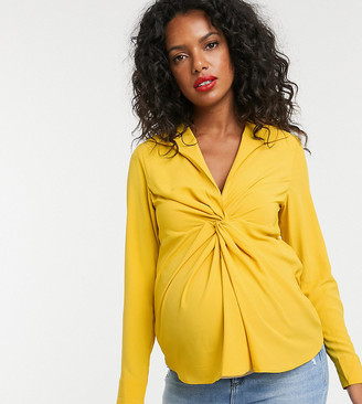ASOS DESIGN Maternity long sleeve plunge shirt with knot front