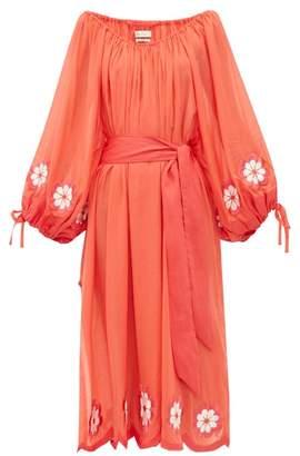 Innika Choo Frida Wailes Embroidered Cotton-voile Midi Dress - Womens - Red
