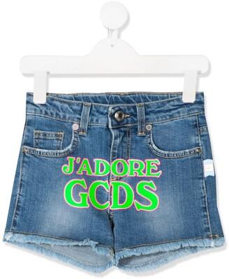Gcds Kids Printed-Logo Denim Shorts