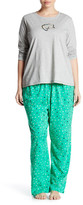 Hue Green Kitty Sequin PJ Set (Plus Size)