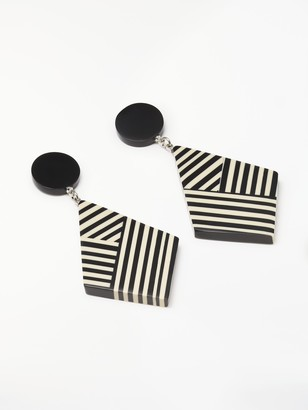 One Button Stripe Geometric Drop Earrings, Black/White