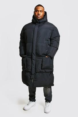 boohoo Mens Black Plus Size 4 Pocket Longline Hooded Puffer, Black