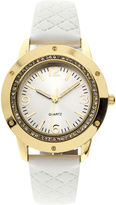 JCPenney FASHION WATCHES Womens Crystal-Accent Quilted Strap Watch