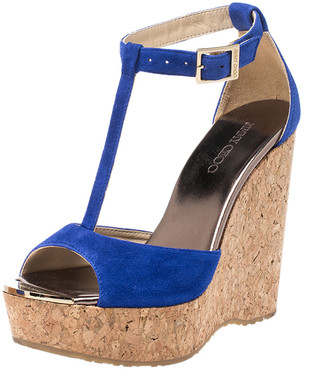 Jimmy Choo Blue Suede Pela Cork Wedge Ankle Strap Platform Sandals Size 36