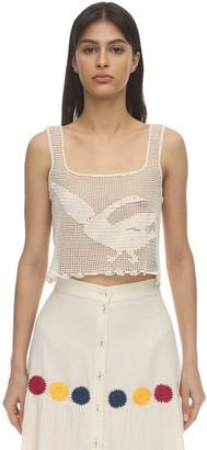 Carolina K. Bird Cropped Cotton Crochet Top