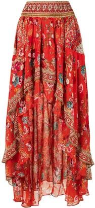 Camilla Floral-Print High-Low Skirt