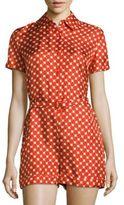 Carven Short-Sleeve Floral Silk Jumpsuit
