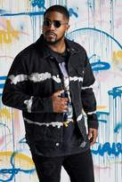 BoohoomanBoohooMAN Mens Big & Tall Quavo Black Tie Dye Denim Jacket, Black