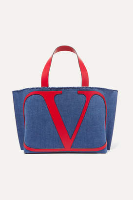 Valentino Garavani Vlogo Escape Small Leather-trimmed Denim Tote - Navy