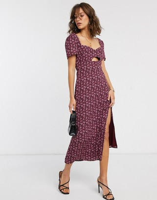 Fashion Union midi dress with cut out in floral print