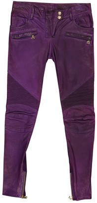 Balmain Purple Leather Trousers