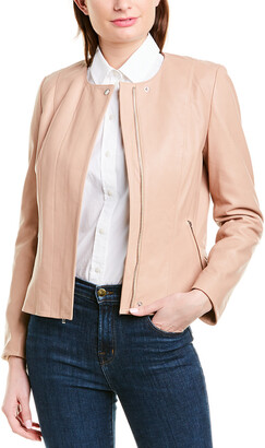 Cole Haan Feminine Racer Leather Jacket