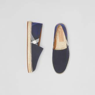 Burberry Overdyed House Check and Cotton Canvas Espadrilles