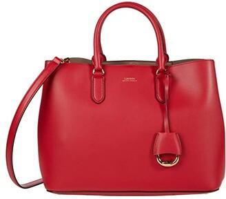 Lauren Ralph Lauren Marcy Satchel (RL 2000 Red/Truffle) Handbags