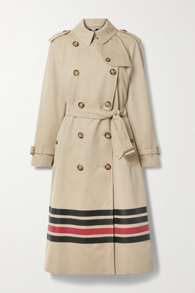 Burberry Striped Cotton-gabardine Trench Coat - Beige