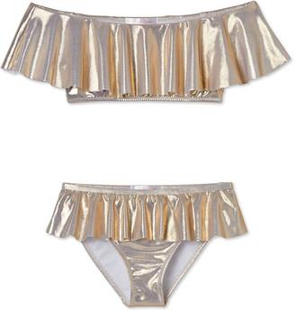 Stella Cove Metallic Ruffle Overlay Two-Piece Bikini Set, Size 4T-14