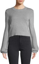 BCBGeneration Balloon-Sleeve Cotton Cropped Sweater