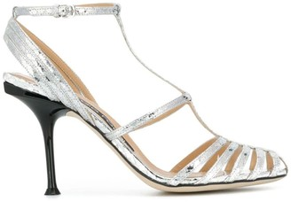 Sergio Rossi metallic T-bar sandals