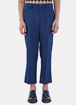 Gucci Men's Military Twill Cropped Pants In Blue