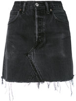 RE/DONE frayed denim skirt - women - Cotton - 26