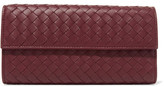 Bottega Veneta Intrecciato Leather Wallet - Burgundy