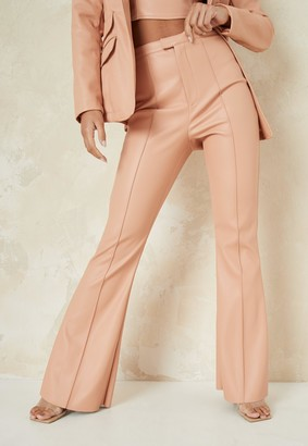 Missguided Tangerine Co Ord Faux Leather Tailored Fit Flare Trousers