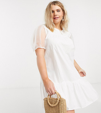 Influence Plus cotton poplin dress with organza sleeves in white