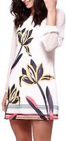 Yumi Floral Brushstroke Print Long Sleeve Dress, Ivory