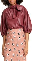 Rebecca Taylor Tie Neck Faux Leather Top