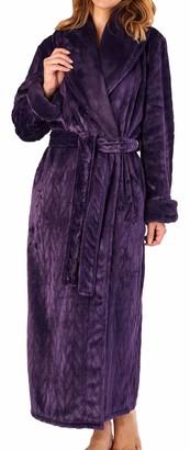 Slenderella Ladies Soft Thick Purple Velvet Fleece Faux Fur Shawl Collared Self Tie Belt Bath Robe Dressing Gown House Coat Small 10 12