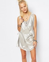 Religion Wrap Front Mini Dress In Burn Out Pattern