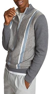 Reiss Mosel Colorblocked Half Zip Sweater