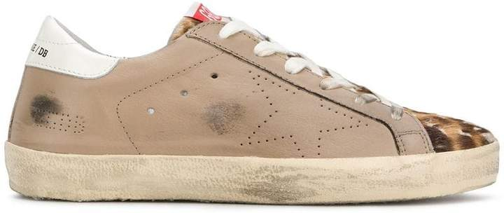 Golden Goose panelled leopard print low top sneakers