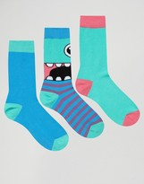 Asos Socks With Monster Design 3 Pack