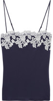 La Perla Moonlight Embroidered Silk-blend Crepe De Chine Camisole - Midnight blue