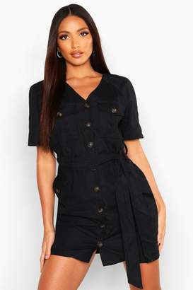 boohoo Suedette Button Down Belted Utility Dress