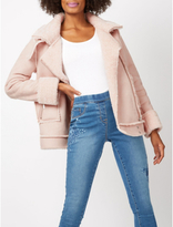 George Faux Shearling Trim Biker Jacket