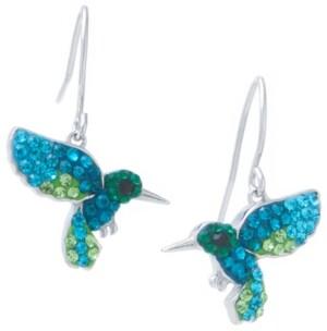 Giani Bernini Multi Pave Crystal Hummingbird Wire Drop Earrings set in Sterling Silver