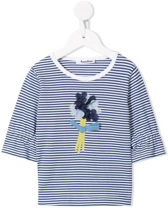 Familiar flower applique striped T-shirt