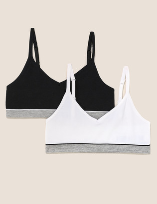 Marks and Spencer 2pk Ultimate Comfort Ribbed Crop Tops (6-16 Yrs)