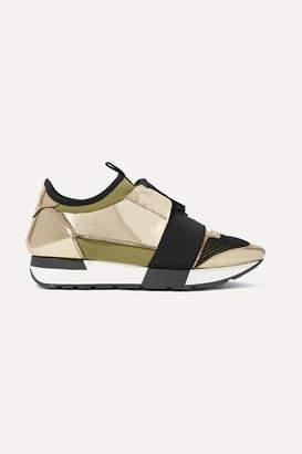 Balenciaga Race Runner Metallic Leather, Mesh And Neoprene Sneakers - Gold