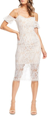 Dress the Population Sacha Cold Shoulder Lace Midi