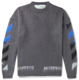 Off-White Off White Logo-Print Mohair-Blend Sweater