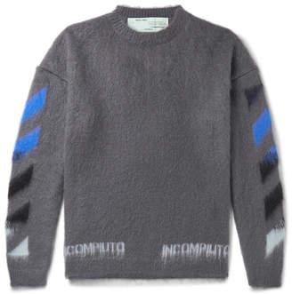 Off-White Off White Logo-Print Mohair-Blend Sweater - Men - Gray